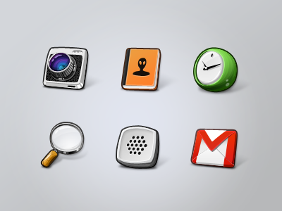 Lemonade icons icons cartoon ui camera contacts clock magnifier voice gmail