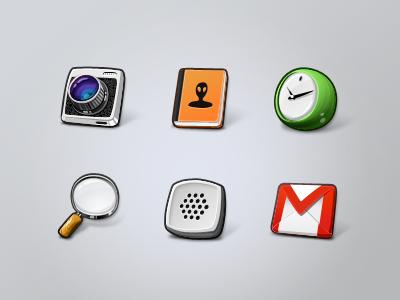 Lemonade icons icons cartoon ui camera contacts clock magnifier voice gmail