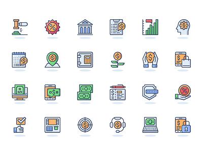 Online Banking Web Flat Line Icons website web modern concept unique simple illustration vector graphic bundle collection pack set pictogram linear lined outline line flat icon