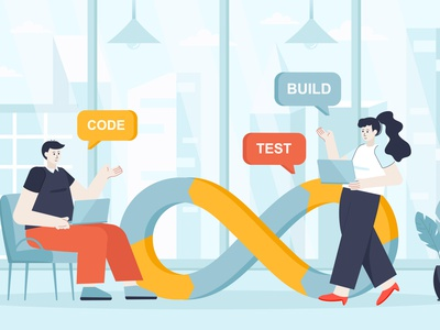 DevOps Flat Design Concept character people design website web homepage header landing page concept development flat software team management devops developer teamwork programmer business