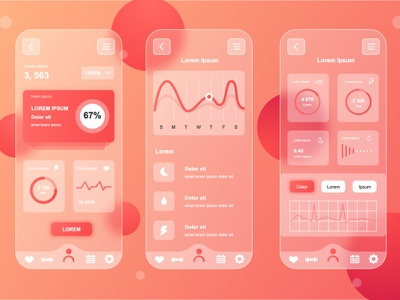 Glassmorphic Fitness Tracking Mobile App UI Kit fitness tracking health responsive kit gui ux ui vector app mobile neumorphism neumorphic gradient blurred transparent glass frosted glassmorphism glassmorphic