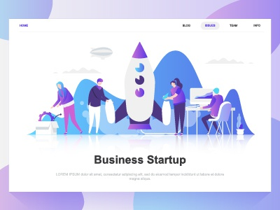 business startup flat concept landing page template by alexdndz