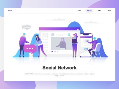 social network flat concept landing page template by alexdndz
