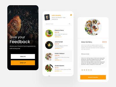 Food Review App app concept uidesign uiux food review food app app design app ui
