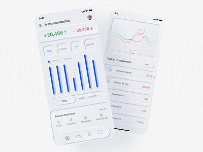 Money Expense App Dashboard UI    Neumorphism ui design ux design app design mobile app ios app appui dashboard app dashboard app ui neumorphism