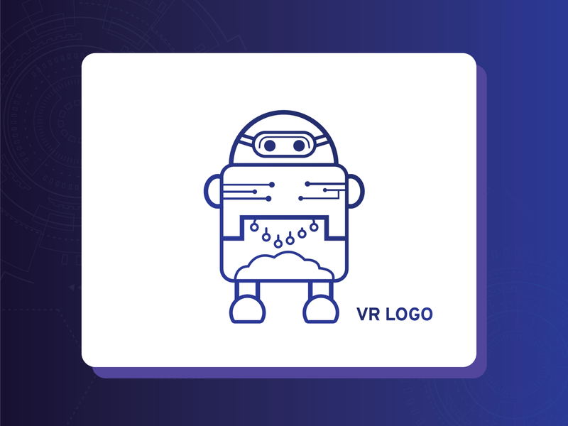 VR- Robo Logo technology tech logo vector design branding abstract logo technology logo logo design concept vector art logodesign vr robot