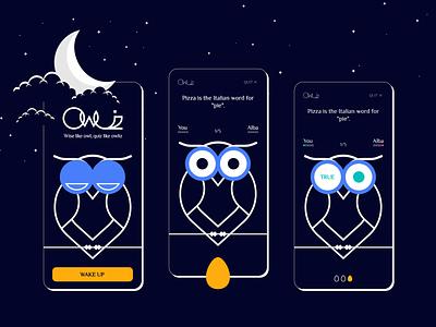 Owliz - Quiz App clouds moon design game ui stars night wakeup egg prize question quiz app owl quiz