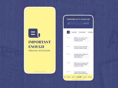 Important News interface app mobile vibrant color month filter newspaper year date  time card design logo news
