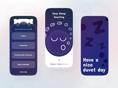 Duvet Day - Keep Sheep Counting! interface clouds illustration mobile product design counting today zzz blanket pillow swipe up sleep sheep day duvet ui