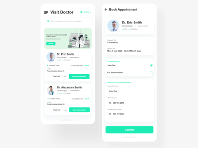 Doctor Appointment App clinic medical interface healthcare call patients doctor book appointment app design illustration application ui ui cards app ui application design color ui  ux design