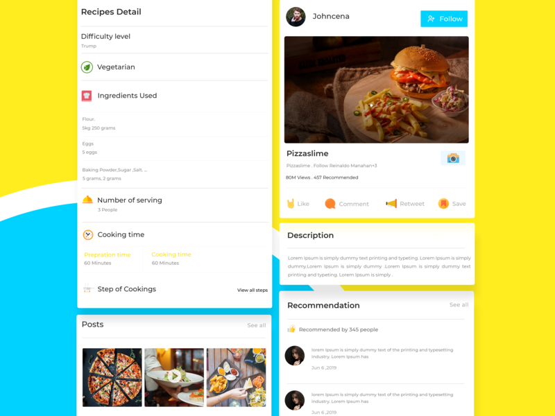 Recipe detail yellow ui  ux follow posts recommendation recommended cards recipe card food lover food food app foodie cooking detail page design ux ui ui ux design recipe recipe app