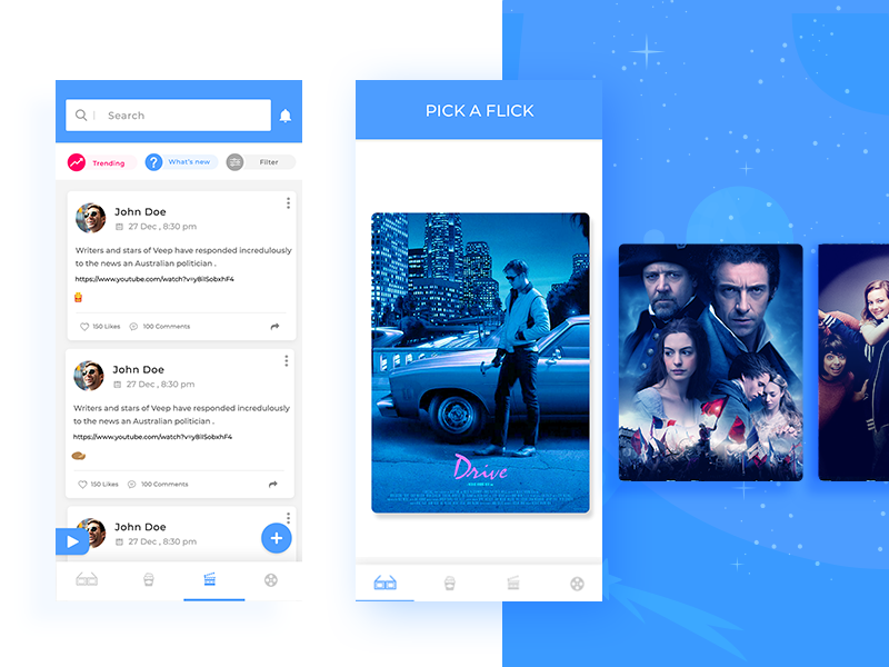 Entertainment application trending video follow tv show tv application design application ui app ui blue ui interface movies trailar color movie poster design movie cards uiux entertainment app entertainment