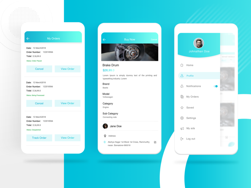sell & purchase app ui color car parts uxdesign ui  ux shot shopping eccomerce buy now my order side menu ui cards application design detail page design