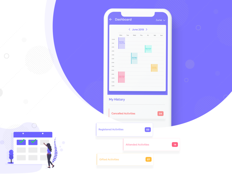 Calendar View gifted registed attended cancelledactivities activities activity purple my history design application design ui  ux ui color dashboard ui multycolors calendar dashboard