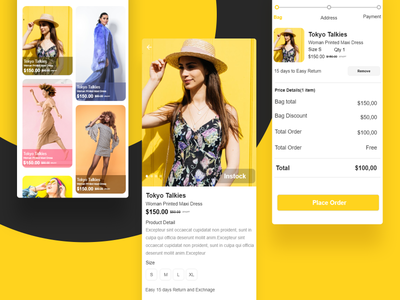 E-commerce Application online shopping shopping app product cart minimal yellow place order ecommerce app branding application ui app design app ui detail page cards application design color ui ui  ux design