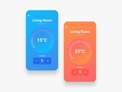 Temperature Control uxdesign technology smart home vector app ux ui ui design minimal design clean modern