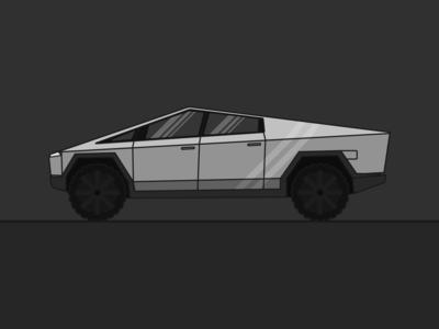 Cybertruck tesla cybertruck dark grey illustrator automotive car branding web vector flat illustration minimal design clean modern