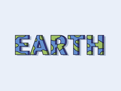 Earth ocean blue space planet word earth world colour illustration typography minimal design clean modern