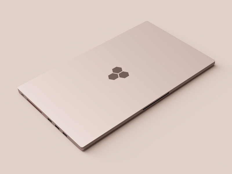Rose Gold Laptop Render realistic aluminium simple packaging lighting colour color rosegold 3d fusion360 render vector design clean modern