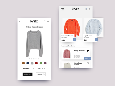 Knitz Ecommerce Product View