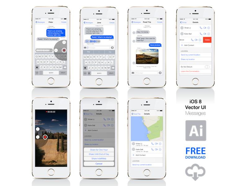 iOS 8 - Messages UI - Vector Free Download ios 8 ui kit vector freebie download ios8 ai ui design apple iphone