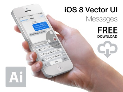 Ios 8   Messages   Vector Ui 02 ios 8 ui kit vector freebie download ios8 ai ui design apple iphone