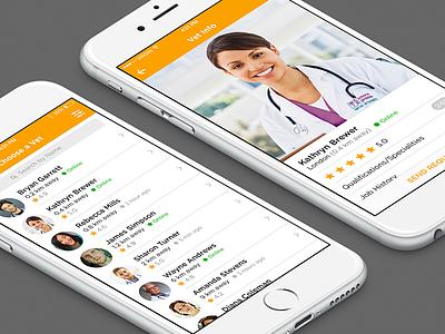 Vet App vet veterinary doctor medical list profile ios app iphone