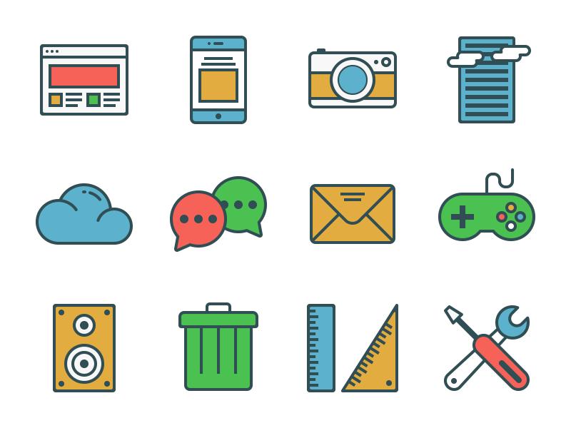 Free Icon Set icon set outline vector free