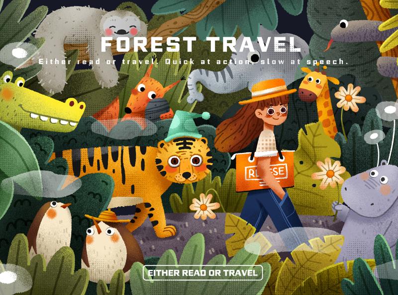 Forest telephone tigers gril animals forests app website branding design illustration