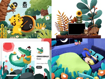 A recent illustration goodnight crocodile spring illustration design