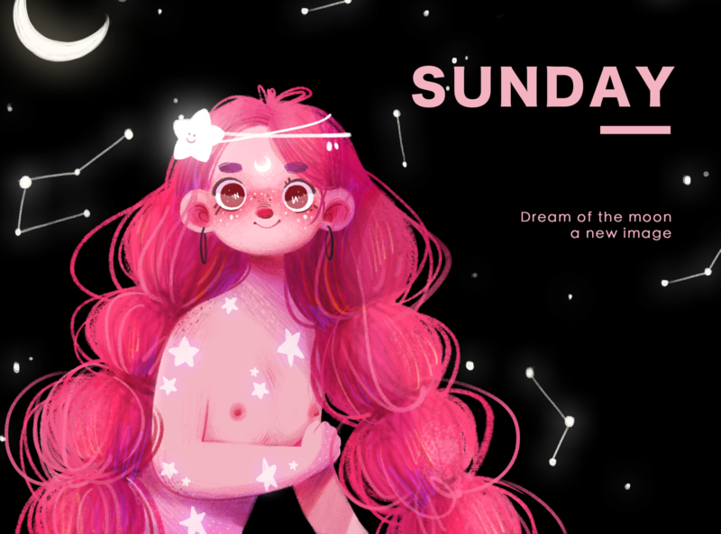 Dream of the moon typography dream moon sunday girl illustration web website branding illustration design