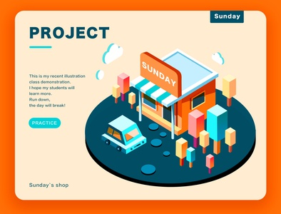 Sunday`s shop project shop animation logo web typography flat app website branding illustration design
