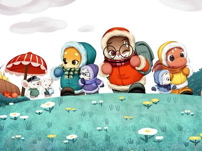 路上的小老鼠疑惑的看他们 children book illustration childrens illustration character design typography app flat website branding illustration design