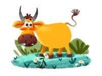 The cow photoshop animal illustration cow branding girls plants childrens illustration flat character design illustration design