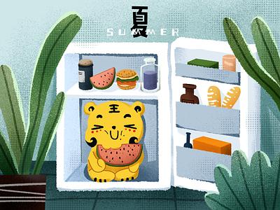 Summer drinks watermalon refrigerator web plants summertime summer app website branding design illustration