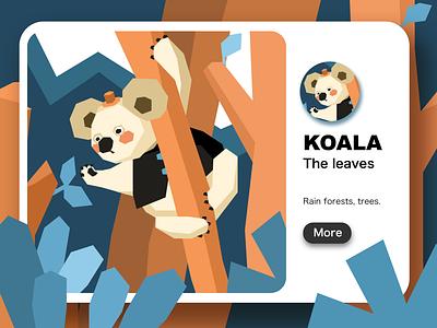 koala leaves koalas illustrator web ui flat website app branding design illustration