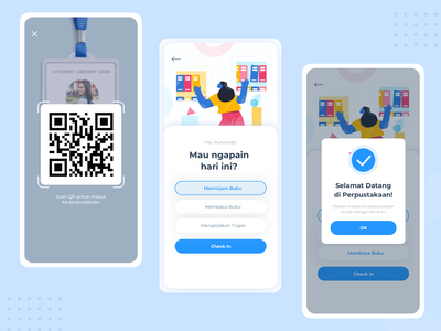 Library Check In ux scan checkin code qr elibrary character ui mobile app design illustration
