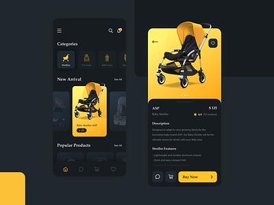Baby Store App Dark Mode Exploration ecommerce app yellow darkmode uiux ui design illustration product stroller mobile shopping app app ecommerce shop baby