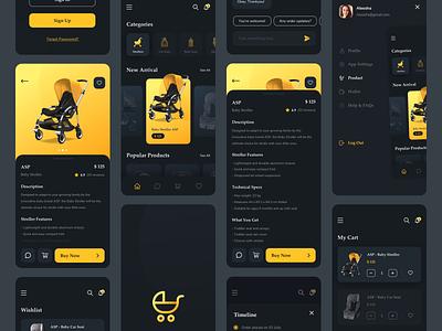 Baby Store App Dark Mode Exploration website design strore shop stroller yellow mode dark screen ecommerce store baby mobile ui app