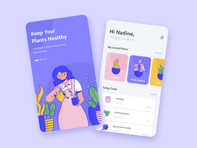Plant Care App uiux onboarding home plant illustration watering girl task flower purple plant expression mobile character ui design app illustration