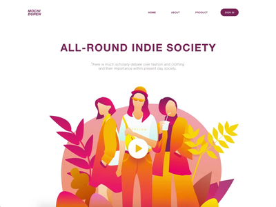 Indie Fashion Animation xd adobe xd hero design graphic ui colorful pink fashion indie girl website transition motion landing page header animation illustration