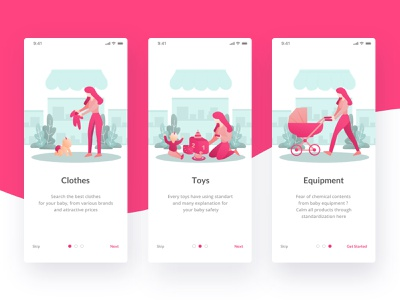 Baby Store App Onboarding parent mother mom cute pink store ios e-commerce baby app mobile onboarding design ui illustrator illustration