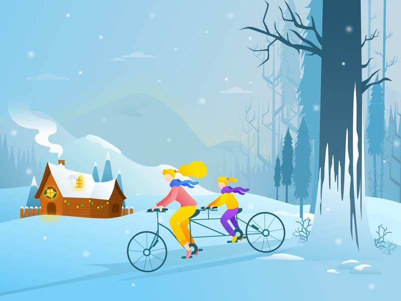 Happy Mother's Christmas Day ! newyear eve blue tree santa bycicle hiking mountain happy fun illustration nature snow family mom mother mothersday christmas