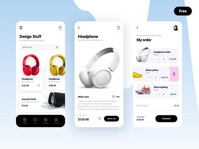 Design stuff fitness shoes headphone ecommerce ecommerce app interface uiux modern clean mobile kit kit free freebie digital app