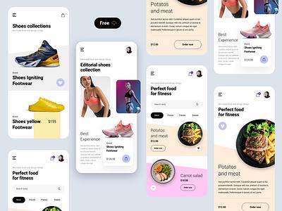 Fitness food ecommerce free freebie uiux ux food app food uidesigner uidesign ui modern clean mobile kit mobile kit interface digital app