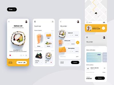 Sushi bar food sushi bar sushi digital kit uidesigner illustration mobile kit modern clean interface freebie free app