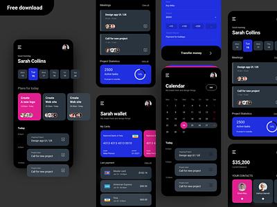Money task black version app design mobile money money uiux ui uidesign digital modern clean interface mobile kit kit appmoney free freebie appbank app