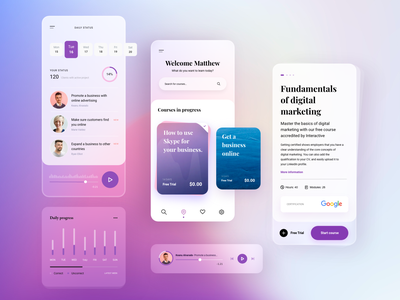 Learning App concept mobile ui applearning uiux ui uidesigner modern clean mobile kit free freebie interface