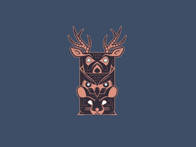 Wisdom Totem Pole graphicdesign vector illustration buck rodent bird beak antlers wisdom stack logodesign illustration design illustration totem