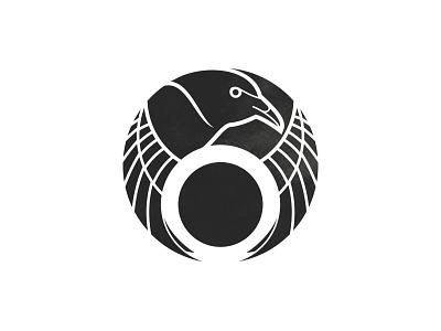 Crow - 64/365 illustration ink texture black branding design logo crest circle wings bird corvid raven